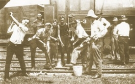 """In 1918, UC co-ops worked as """"gandy dancers,"""" a slang term for railroad section workers. Six UC students with their site supervisor are (from left) Joe Dave, Eng '23; Bob Sloan; Ray Hartung, Eng '24; Jerry Bevins; Jack Harrod, Eng '23; and Norwood Geis, Eng '23.     photo/UC Archives & Rare Books"""