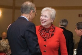 """President Nancy Zimpher greets Gilbert Cloyd, Procter & Gamble's chief technology officer and UC's keynote speaker at the """"Innovation Imperative"""" for business and government leaders.  photo/Dottie Stover"""