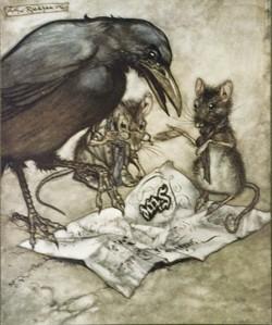 """The Arthur Rackham illustration is from J.M. Barrie's """"Peter Pan In Kensington Gardens,"""" one of several Rackham children's books the library holds."""
