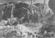 A black and white sketch of four chaplains holding hands on the last shred of sinking ship while soldiers try to swim in the water around them.