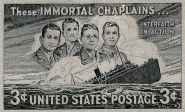 This commemorative postage stamp depicts the faces of the four chaplains.