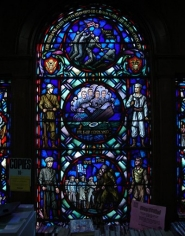 Memorial stained glass window of the chaplains.