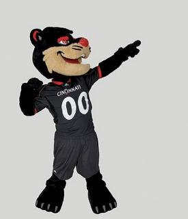 Modern University of Cincinnati Bearcat mascot