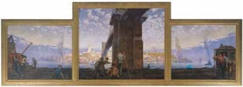 "Herman Henry Wessel's ""Jamming Barges Under the Suspension Bridge,"" a gift of the Class of 1920"