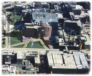 The photo illustration above projects the aerial view of the Medical Center after the parking garage is razed and the 200,000-square-foot addition to MSB is completed.  photos/courtesy of UC Department of Construction Management