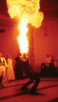 Phil Solomon breathing fire