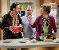 Riva shown with Cheech Marin (center) and Eugenio Derbez in the CBS 2011 comedy ''Rob.''