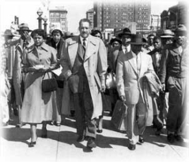 Long before his appointment to the U.S. Supreme Court, Thurgood Marshall (center) successfully argued in 1956 that the 14th Amendment allowed Autherine Lucy (left) admittance to the Unviersity of Alabama.