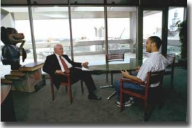 Dr. Steger and the '02-03 student body president Darren Tolliver in one of their regular meetings. -- photo/Lisa Ventre