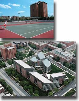 Home to more than 550 students, the Jefferson Residence Complex (above) sits squarely on land that was once the UC tennis courts. A new tennis complex is scheduled to open as part of Varsity Village. photos/Lisa Ventre and Dottie Stover