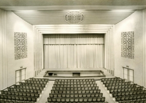 Black and white image of the old Wilson auditorium shows the space as it existed in the 1930s.