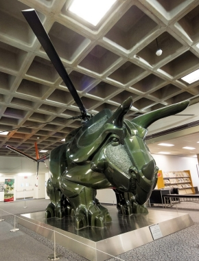 This statue looks like a dinosaur combined with a helicoptor -- because it is. Triceracoptor is displayed at UC's Langsame Library.