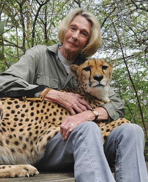 Cathryn Hilker holds Angel, her hand-raised companion cheetah, in her lap. Both look directly into the camera.