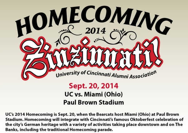 A graphic shows Homecoming 2014 Zinzinnati for the Sept. 20th game versus Miami of Ohio.