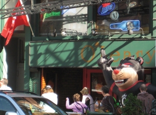 "A large inflatable Bearcat sits outside O'Leary's as patrons enter Chicago's ""UC hangout."""