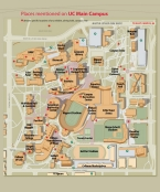 A map of the University of Cincinnati's main campus.