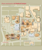 A map of the University of Cincinnati's medical campus.