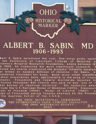 The Ohio Historical Marker honors Albert Sabin outside the front doors of the Vontz Center