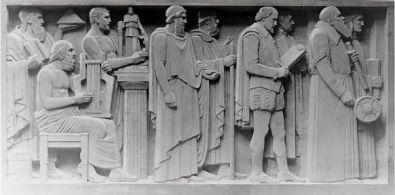 Relief carvings into the facade of Blegen Library.