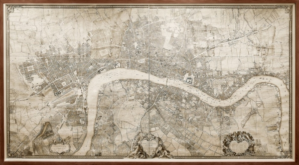An internationally important 13-by-7-foot map of London from 1749 is on display on the eighth floor of Blegen Library.