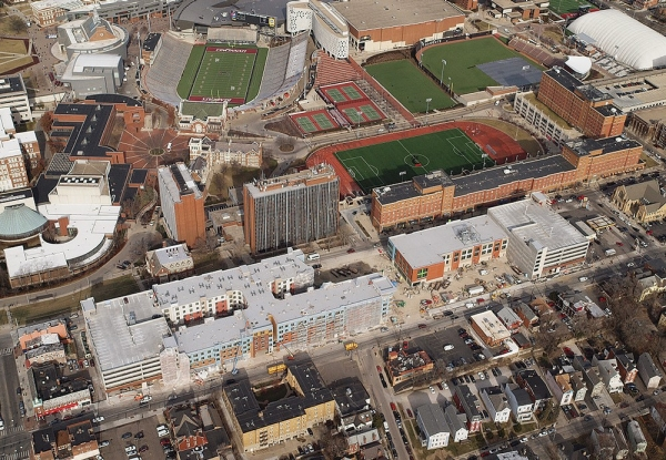 The aerial view of the south side of the University of Cincinnati campus also shows a revitalized area of shops, restaurants and bars just off campus.