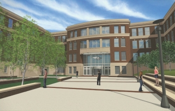 A rendering reveals a renovated entrance to the Teachers College/Dyer Hall.