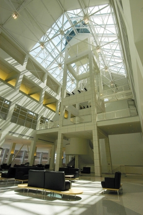 Sunlight filters into the 90-foot atrium of the Tangeman University Center of the University of Cincinnati.
