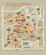 A map of the University of Cincinnati main campus.