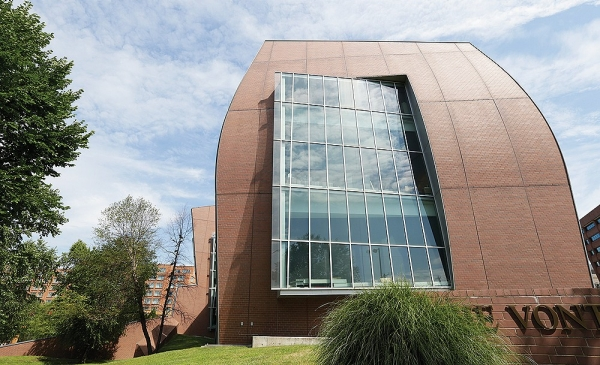 The unusual rounded brick walls characterize the University of Cincinnati's Vontz Center of Molecular Studies.