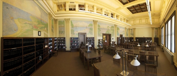 A panoramic view of the interior of UC's Baldwin Hall -- and the beautiful murals on the walls.