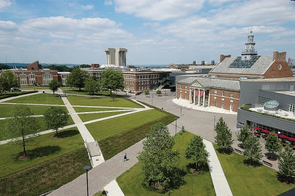 An aeriel of the attractive walkways and green space of the University of Cincinnati McMicken Commons.