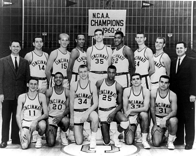 Team photograph shows the 1962 UC Bearcats with their coaches.