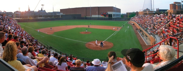 Fans are seated in most of the seats inside Marge Schott Stadiu, UC's baseball complex.