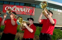 The UC band provided the fanfare during the morning ceremony as university employees arrived at the stadium.  photo/Dottie Stover