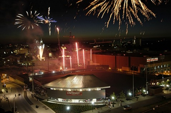 UC's Big East celebration, July 1, 2005, culminated with an impressive 25-minute display of fireworks over campus. The all-day party, from the breakfast for employees to the noon rally downtown on Fountain Square to the concert and fireworks in the evening, was designed to mark the University of Cincinnati's highly anticipated move from Conference USA to the Big East. photo/Lisa Ventre