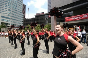 Even the downtown crowd got a taste of Bearcat spirit as the UC dance team performed on Fountain Square. photo/Lisa Ventre