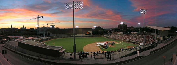 A panoramic view of the University of Cincinnati campus at dusk during the Big East celebration, July 1, 2005.  photo/Jay Yocis