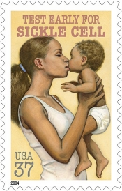 'Test Early for Sickle Cell' stamp