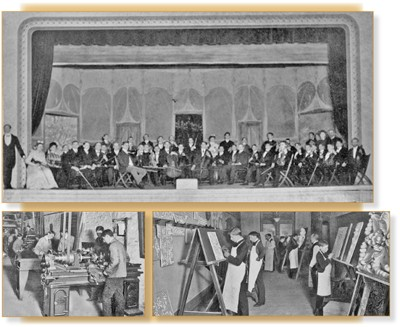 Photos from the turn of the 19th century depict OMI Symphony Orchestra students, a machine shop and a class in clay modeling, which created molds for architectural features on buildings.