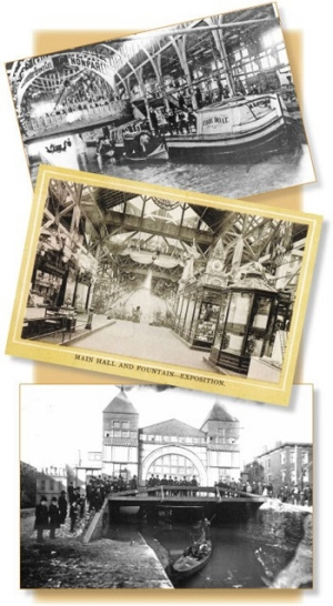 In 1888, VIPs arrived at the Centennial Exposition by gondolas, via the Miami-Erie Canal, now the location of Central Parkway. Three entire blocks of the canal were entirely covered with a temporary, elongated structure. At top, a fire boat enters the Machinery Hall. In the middle, a fountain decorates the main hall of the Exposition Building.