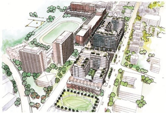 UC's new Calhoun Garage (at top) is literally the base for Phase I of a community-directed housing/retail project. The aerial view shows Phase II plans for upscale condos (center) and an oval park bordered by townhouses. illustrations courtesy of CHCURC