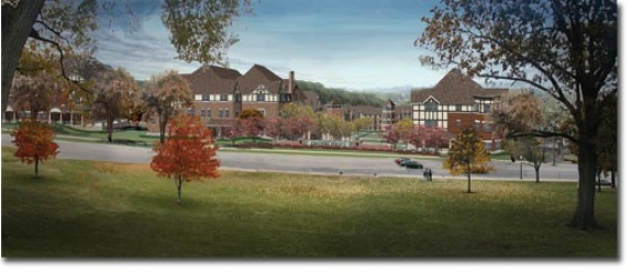 Stratford's main entrance, as it will look from McMicken Hall, across Clifton Avenue.