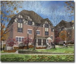 A computerized rendering shows Tudor-style houses at Stratford Heights, bordered with lots of green space.