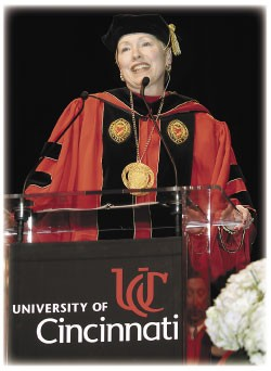 At the inauguration, UC's 25th president Nancy Zimpher outlines her ambitious 21-goal plan to boost the university's reputation into the academic elite. photo/Lisa Ventre