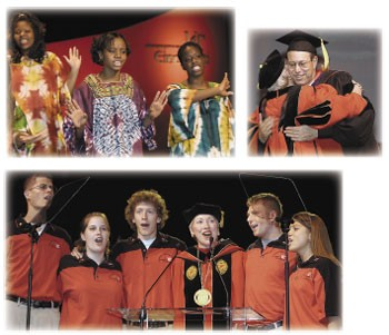 Clockwise from top left: A musical prelude from the award-winning African American Cultural and Research Center Choir includes (from left) TeOnna Bradford, Mya Wilson and Sheen King. Ohio's governor, Robert Taft, JD '76, HonDoc '00, gives a congratulatory hug. Student Orientation leaders (from left) Ben Lewis, Sarah Korfhagen, Richard Huff, Brian Hillner and Leslie Gerhardstein join in the Alma Mater. photos/Lisa Ventre