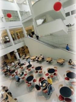 Upon entering TUC's north wing, visitors are met with a sensational 90-foot atrium that was created by literally gutting the old student union.