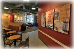 Interior spaces within the Joseph Steger Student Life Center include a two-story Starbucks.