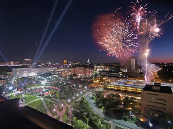 Fireworks over campus