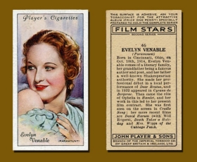 Evelyn Venable appears on a cigarette card.