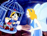 The Blue Fairy and Pinocchio as seen in Disney's 1940 film.